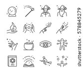 magic and spell line icon set....