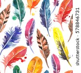 watercolor hand drawn feathers... | Shutterstock . vector #578846731