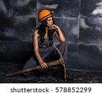sexy female miner worker with... | Shutterstock . vector #578852299