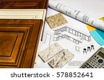 Stock photo remodeling inside of kitchen doors cabinets countertops blueprints and design 578852641
