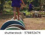 kids playing in the playground. ... | Shutterstock . vector #578852674