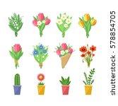 Flowers Bouquets Set. Tulips ...