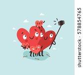 family selfie. hearts... | Shutterstock .eps vector #578854765