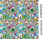 lovely city landscape car track ... | Shutterstock .eps vector #578858395