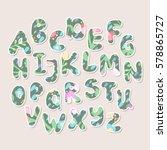 cute vector floral uppercase... | Shutterstock .eps vector #578865727