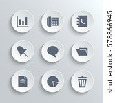 web icons set   white round... | Shutterstock . vector #578866945