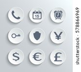 finance icons set   white round ... | Shutterstock . vector #578866969