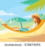 girl freelancer working | Shutterstock .eps vector #578879095
