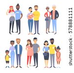 set of different couples and... | Shutterstock .eps vector #578881111