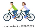 couple of man and woman riding...   Shutterstock .eps vector #578885329