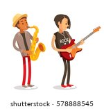 rock and jazz musicians | Shutterstock .eps vector #578888545