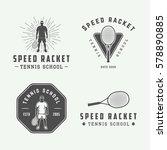 set of vintage tennis logos ... | Shutterstock .eps vector #578890885