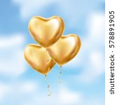 heart gold balloon on background | Shutterstock .eps vector #578891905