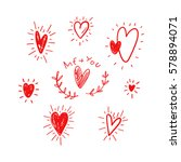 funny doodle hearts icons... | Shutterstock .eps vector #578894071