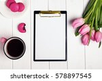 mock up with coffee  tulips and ... | Shutterstock . vector #578897545