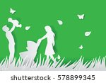 green background happy family... | Shutterstock .eps vector #578899345