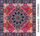 lovely tablecloth with mandala... | Shutterstock . vector #578908831