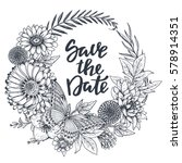 save the date card with hand... | Shutterstock .eps vector #578914351