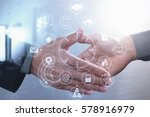 business partnership meeting... | Shutterstock . vector #578916979