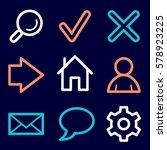 basic vector mobile icons. web... | Shutterstock .eps vector #578923225