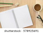 wood office desk table with... | Shutterstock . vector #578925691