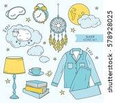collection of sleep symbols ... | Shutterstock .eps vector #578928025