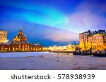 northern lights over the frozen ... | Shutterstock . vector #578938939