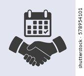 calendar flat icon   handshake  ... | Shutterstock .eps vector #578954101