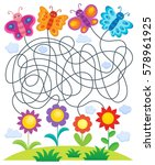 maze 24 with butterflies and... | Shutterstock .eps vector #578961925