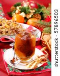 traditional christmas eve`s sweets- compote of dried fruits and noodles with poppy seeds - stock photo