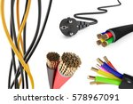 set of electric wires on a... | Shutterstock . vector #578967091