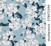 apple blossom branch of flowers ...   Shutterstock . vector #578972599