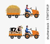 vector farm tractor with trolley | Shutterstock .eps vector #578973919