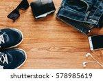 men's accessories on wooden...   Shutterstock . vector #578985619