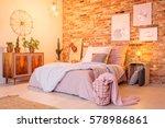 warm bedroom with brick wall ... | Shutterstock . vector #578986861