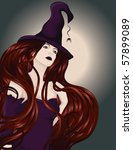 beautiful sexy witch with long... | Shutterstock .eps vector #57899089