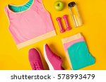 fitness accessories on yellow...   Shutterstock . vector #578993479