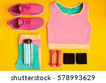 fitness accessories on yellow... | Shutterstock . vector #578993629