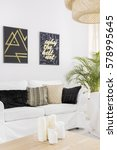 white living room with sofa and ... | Shutterstock . vector #578995645