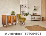 bright and spacious room with... | Shutterstock . vector #579004975