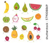 cartoon fruits cute characters... | Shutterstock .eps vector #579008869
