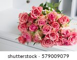 Bouquet Of Pink Roses On White...