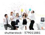 business colleagues having... | Shutterstock . vector #579011881
