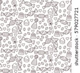 candy sweet doodles seamless... | Shutterstock .eps vector #579027721