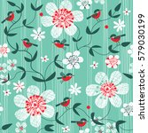 Stock vector seamless pattern with birds and flowers 579030199