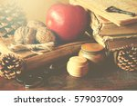 old vintage books on wooden... | Shutterstock . vector #579037009