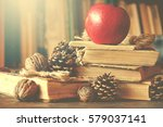 old vintage books on wooden... | Shutterstock . vector #579037141