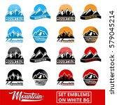 set mountain logo with white...   Shutterstock .eps vector #579045214