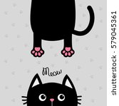 black cat funny face head...   Shutterstock .eps vector #579045361