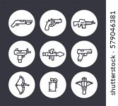 weapons line icons set  rocket...